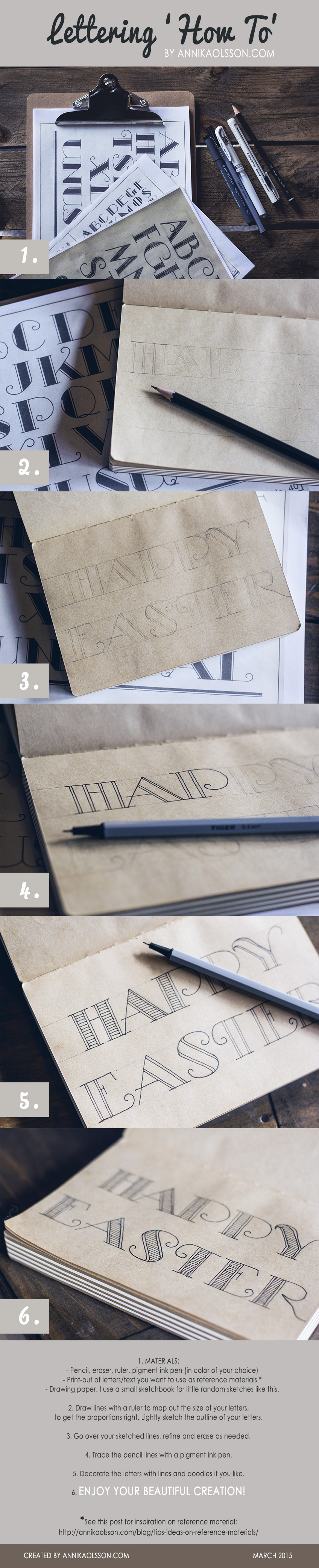Easy Lettering tutorial with step-by-step images by Annika Olsson at www.annikaolsson.com