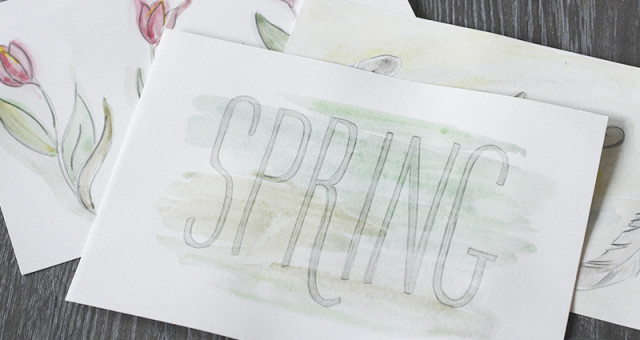 Lettering & water color cards