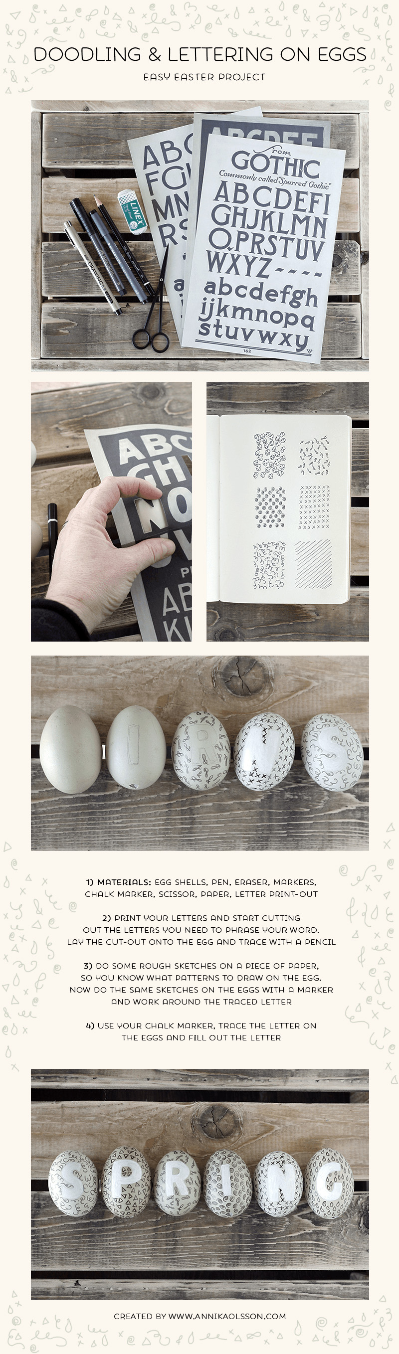 lettring and oodling on eggs
